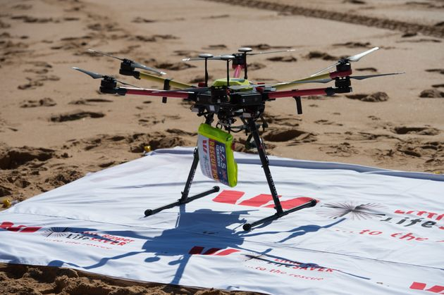 The drone used to save the two swimmers was aStella X1000 UAV with deployable bouyancy