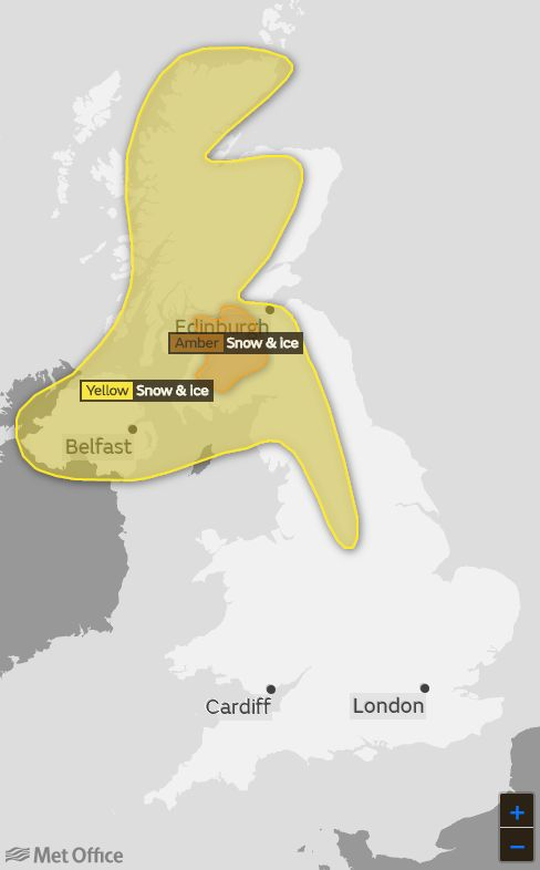 Yellow and amber weather warnings are in place on