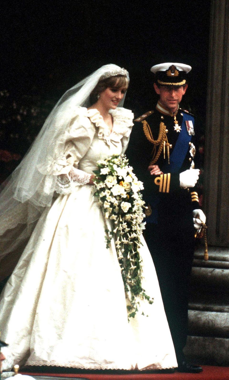 Princess Diana opted for a dress designed by the Emanuels, while Prince Charles opted to wear military