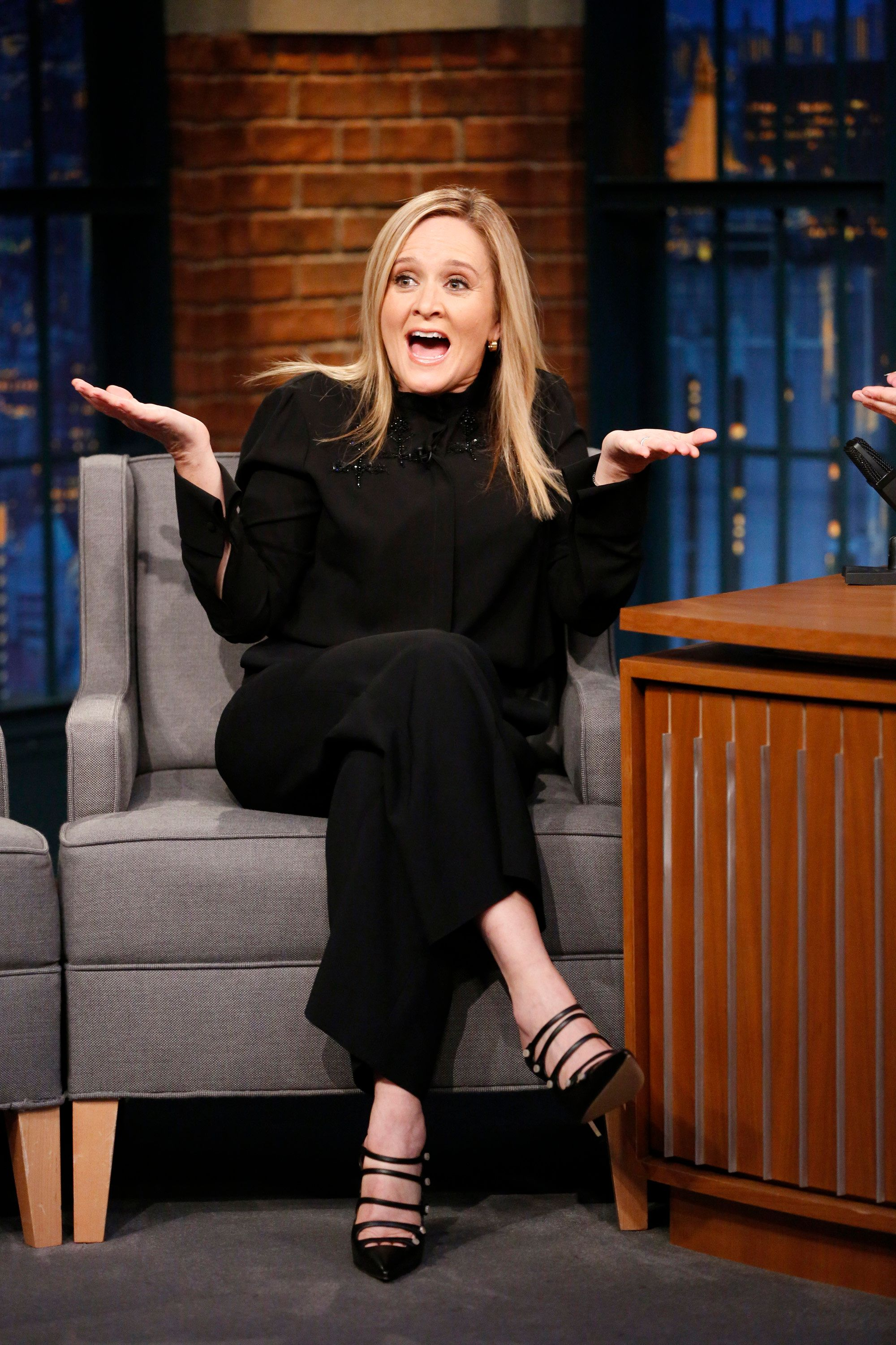 LATE NIGHT WITH SETH MEYERS -- Episode 619 -- Pictured: Comedian Samantha Bee during an interview on December 4, 2017 -- (Photo by: Lloyd Bishop/NBC/NBCU Photo Bank via Getty Images)