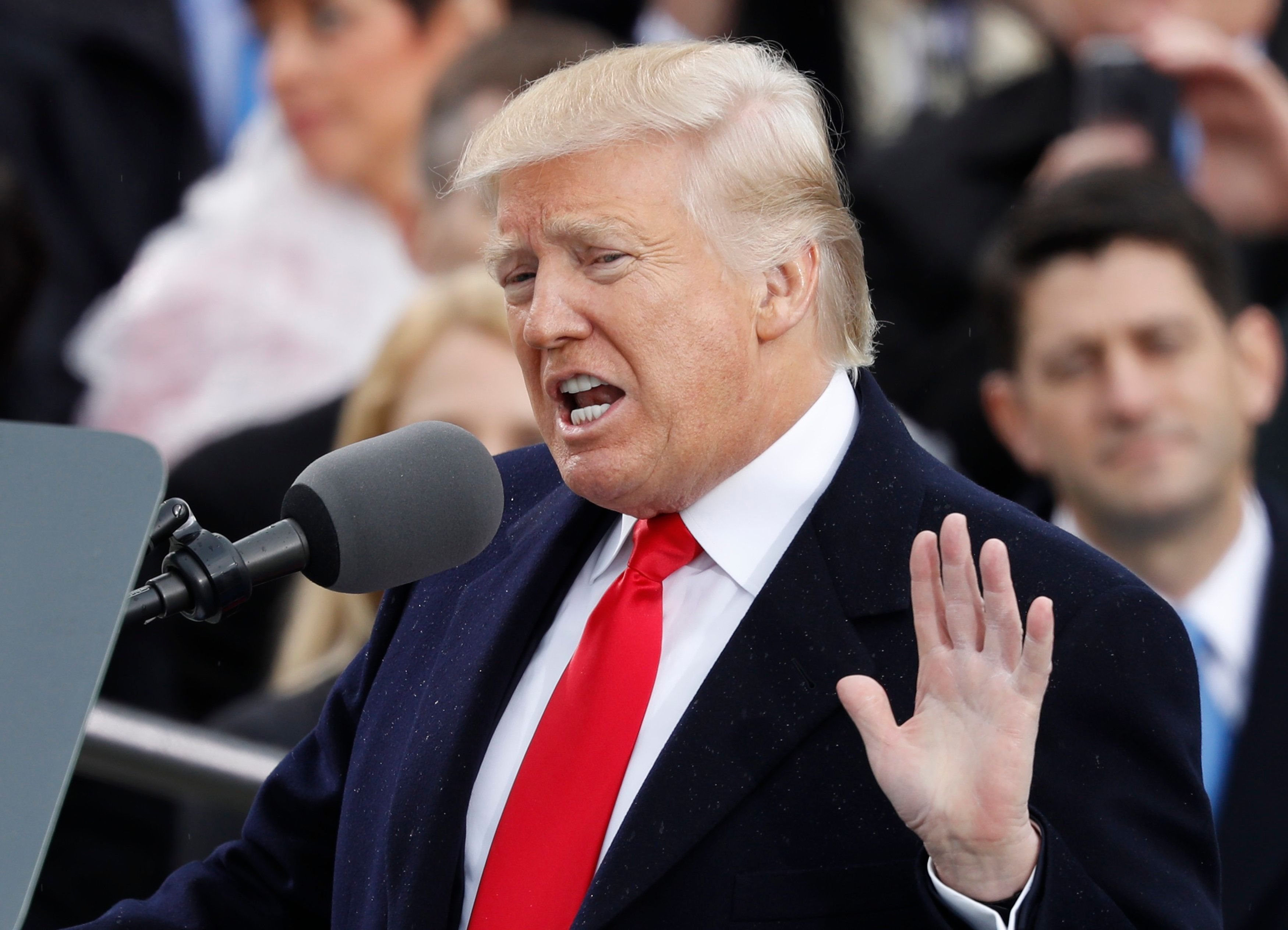 U.S. President Donald Trump speaks after being sworn in as the 45th president of the United States on the West front of the U.S. Capitol in Washington, U.S., January 20, 2017.  REUTERS/Lucy Nicholson