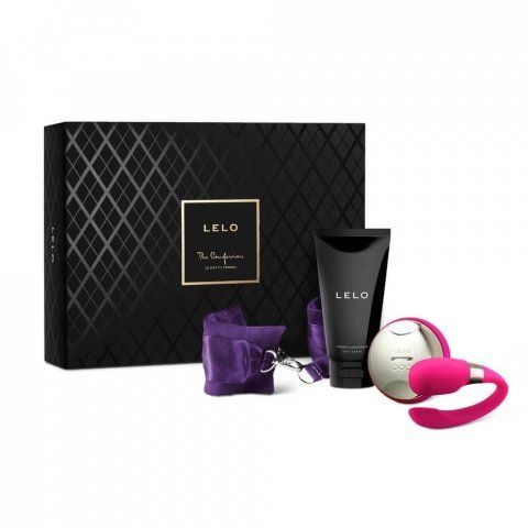 """This <a href=""""https://www.lelo.com/the-confession-gift-set"""" target=""""_blank"""">kinky set includes silk cuffs</a>, the Tiani 3 co"""