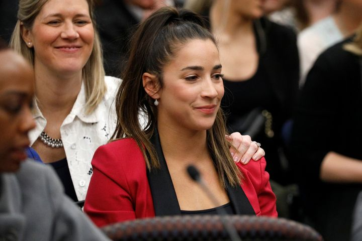 Aly Raisman appears in court Jan. 19, 2018, during the sentencing hearing for Larry Nassar.