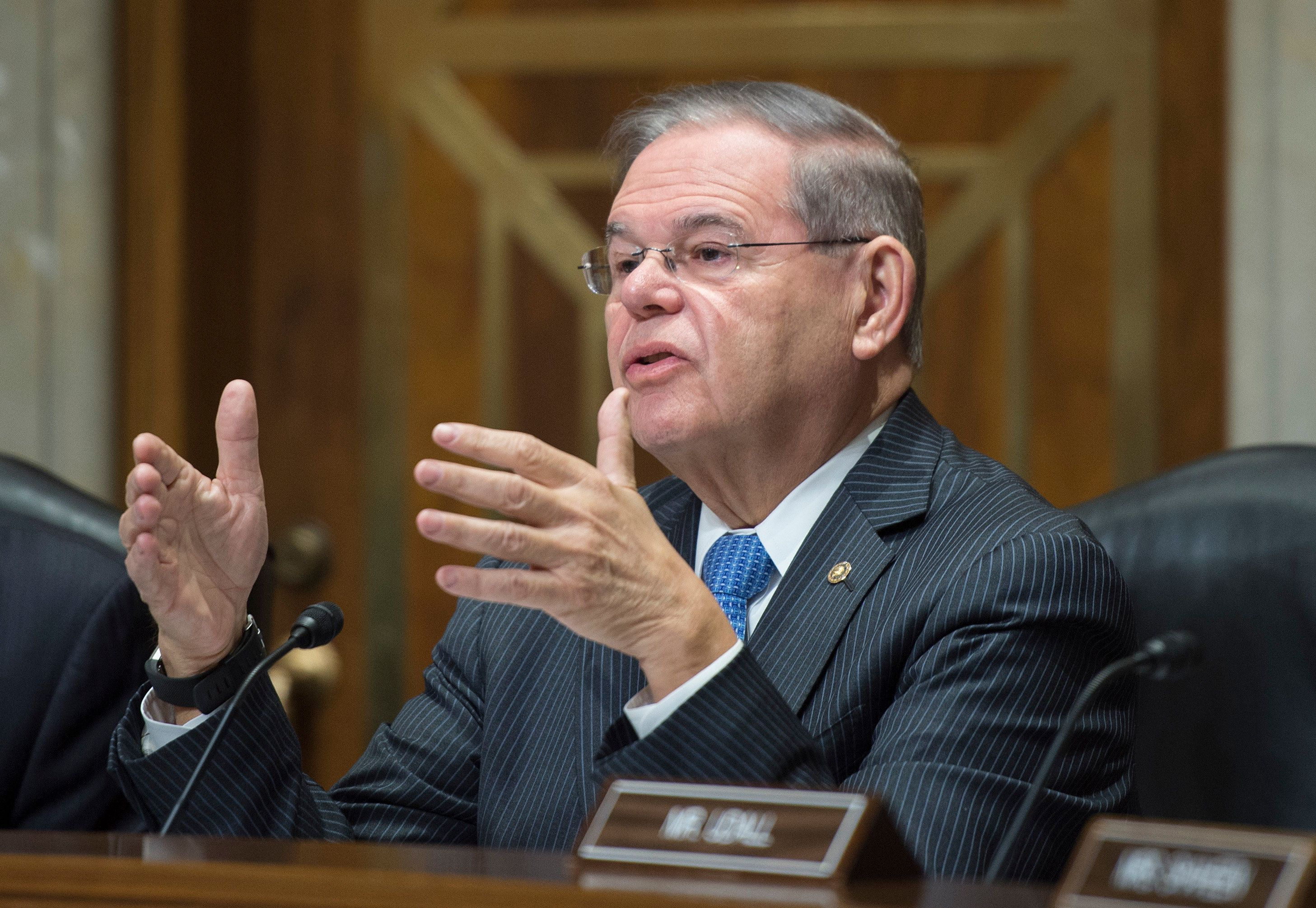 Bob Menendez (D-NJ) speaks during a foreign relations hearing in Washington, DC on January 9, 2018, on the attacks on US diplomats in Cuba. The United States is to review how the State Department has responded to alleged attacks on the health of 24 diplomats and family members in Havana, officials said Tuesday. The State Department had come under renewed pressure to form an 'accountability review board' as the mystery surrounding the brain trauma suffered by the envoys has only deepened. Initially officials suggested the Americans had been targeted by some sort of acoustic weapon, although news reports now say the FBI has been unable to confirm this theory.  / AFP PHOTO / Andrew CABALLERO-REYNOLDS        (Photo credit should read ANDREW CABALLERO-REYNOLDS/AFP/Getty Images)