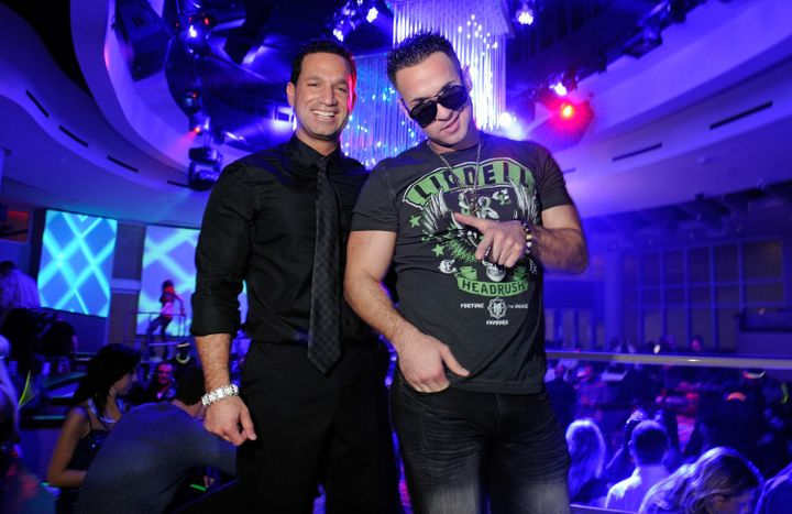 "Marc Sorrentino, left, and Mike ""The Situation"" Sorrentino, right, at a nightclub in Las Vegas on Feb. 14, 2012."