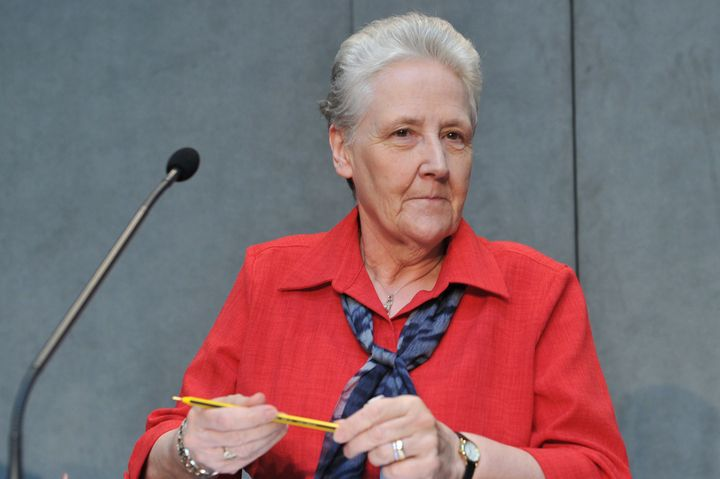 "Irish activist Marie Collins attends a news conference on May 3, 2014, at the Vatican. She criticized the Vatican's ""fin"