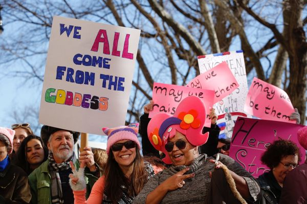 People gather prior to the second annual National Womens March in New York City.