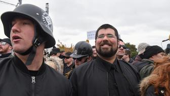 "White Nationalist activist, Matthew Heimbach (R) smiles while participating in a ""White Lives Matter"" rally in Shelbyville, TN, U.S., October 28, 2017. REUTERS/Stephanie Keith"