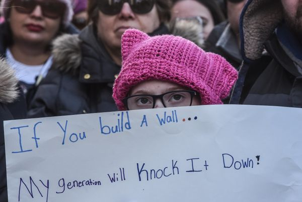 People participate in the Women's March in New York City.