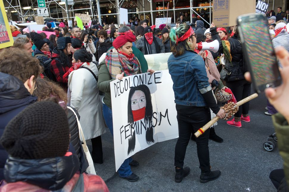 Veronica Pazmino, 28, wore red at the NYC Women's March to honor indigenous women.