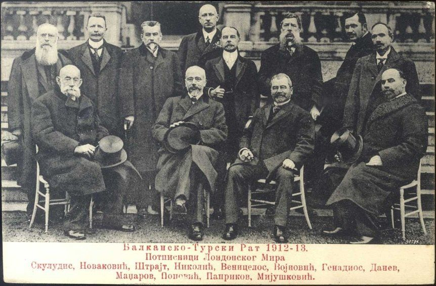 Delegates of Balkan States at the en:London Conference of 1912–13. From left to right: Stephanos...