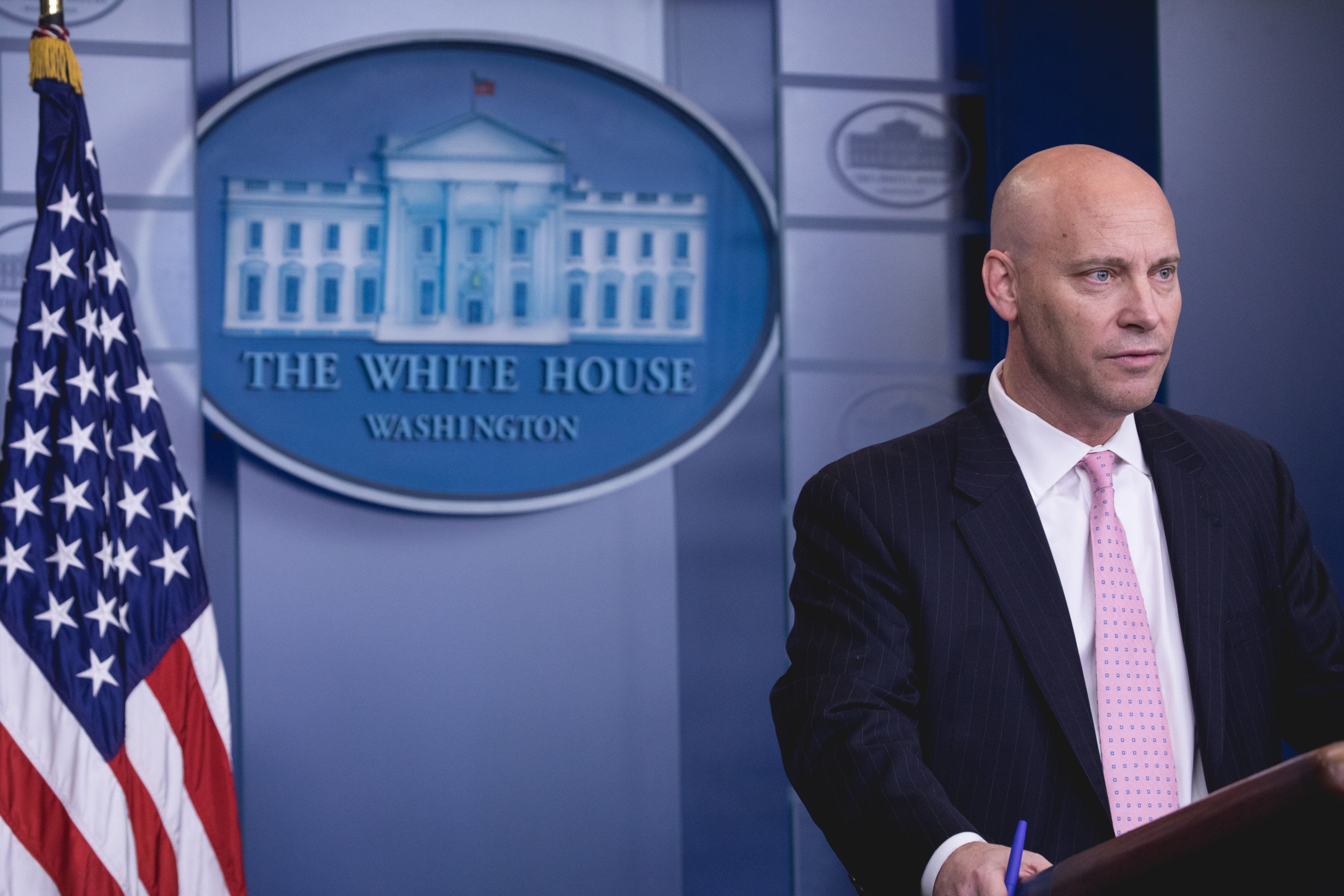 Legislative Affairs Director Marc Short speaks during a press briefing on the government shutdown, in the James S. Brady Press Briefing Room of the White House in Washington, D.C., on Saturday, January 20, 2018. (Photo by Cheriss May) (Photo by Cheriss May/NurPhoto via Getty Images)