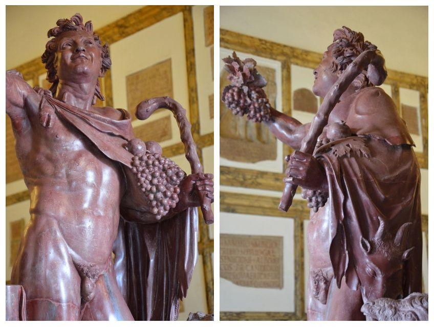 """Το άγαλμα του «μεθυσμένου» σατύρου """"Fauno rosso"""", που βρέθηκε στο παλάτι του Αδριανού το 1736, Palazzo..."""