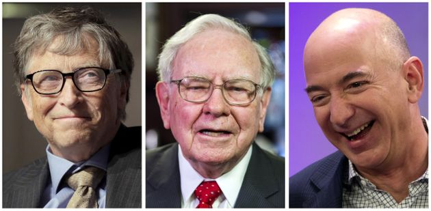 Bill Gates, Warren Buffett and Jeff Bezos (L-R), the three richest people in the