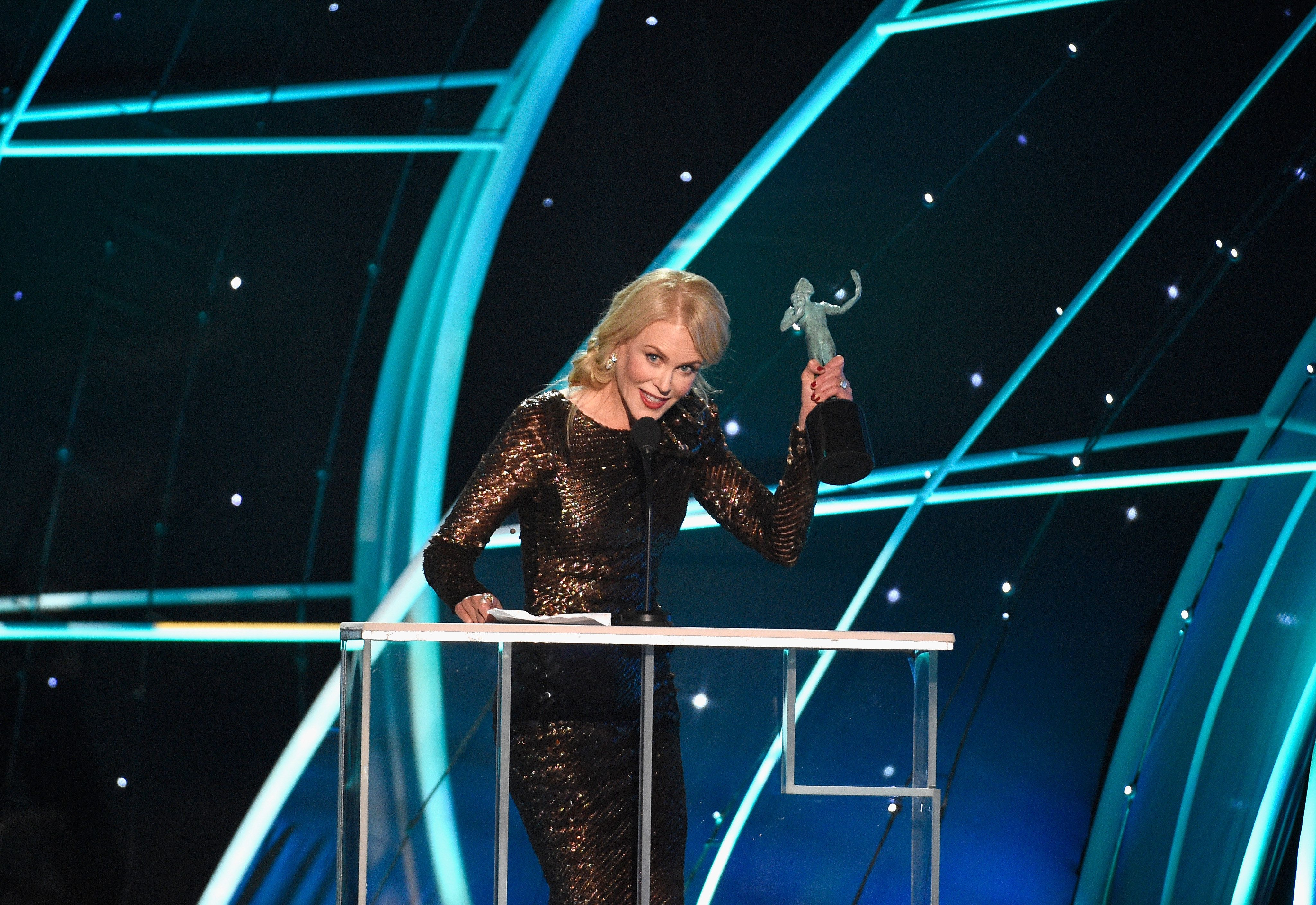LOS ANGELES, CA - JANUARY 21:  Actor Nicole Kidman onstage during the 24th Annual Screen Actors Guild Awards at The Shrine Auditorium on January 21, 2018 in Los Angeles, California.  (Photo by Kevork Djansezian/Getty Images)