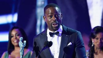 LOS ANGELES, CA - JANUARY 21:   Actor Sterling K. Brown accepts the Outstanding Performance by a Male Actor in a Drama Series award onstage during the 24th Annual Screen Actors Guild Awards at The Shrine Auditorium on January 21, 2018 in Los Angeles, California. 27522_007  (Photo by Kevin Mazur/Getty Images for Turner Image)