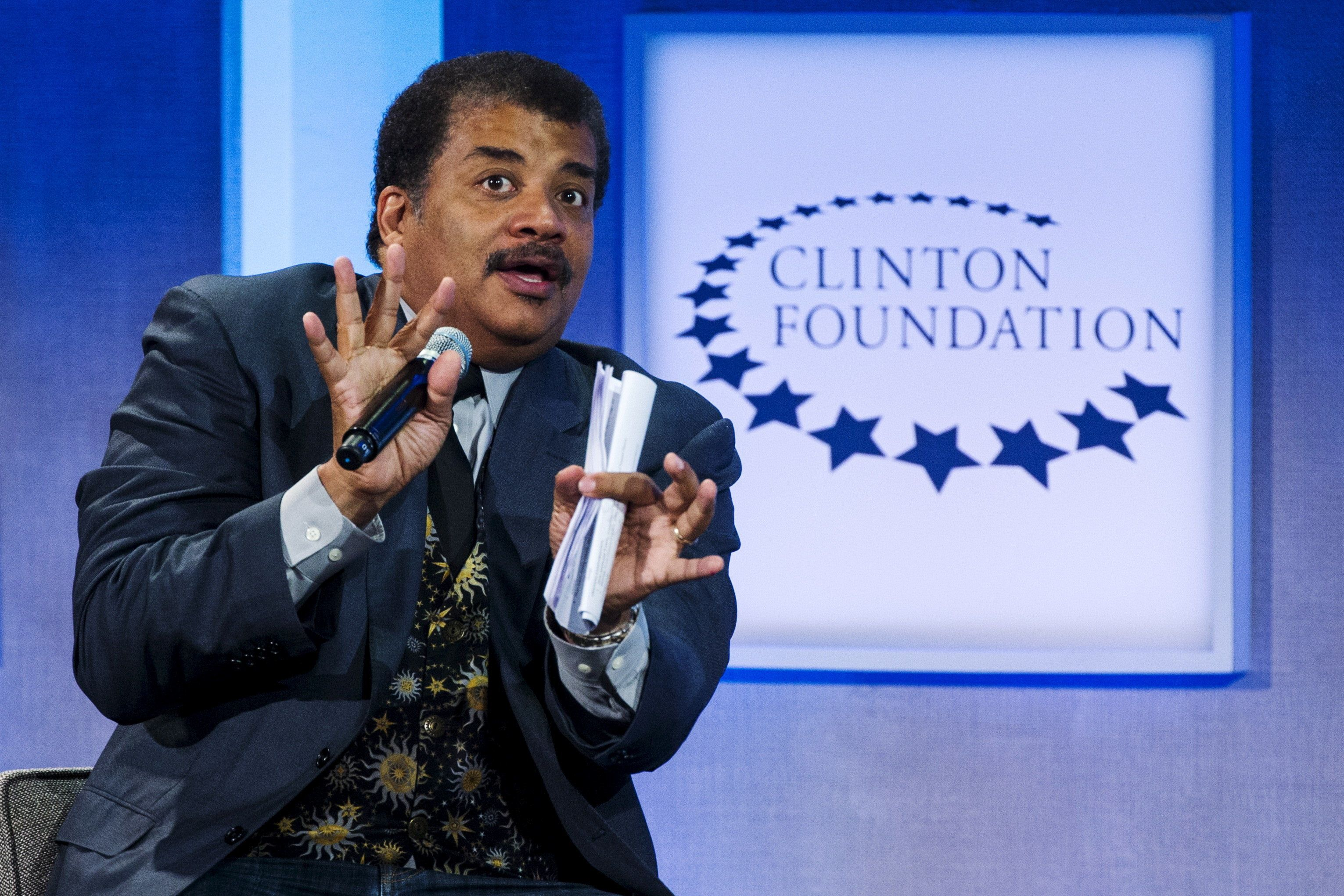 Astrophysicist Neil deGrasse Tyson speaks during the Clinton Global Initiative's annual meeting in New York, September 28, 2015.  REUTERS/Lucas Jackson