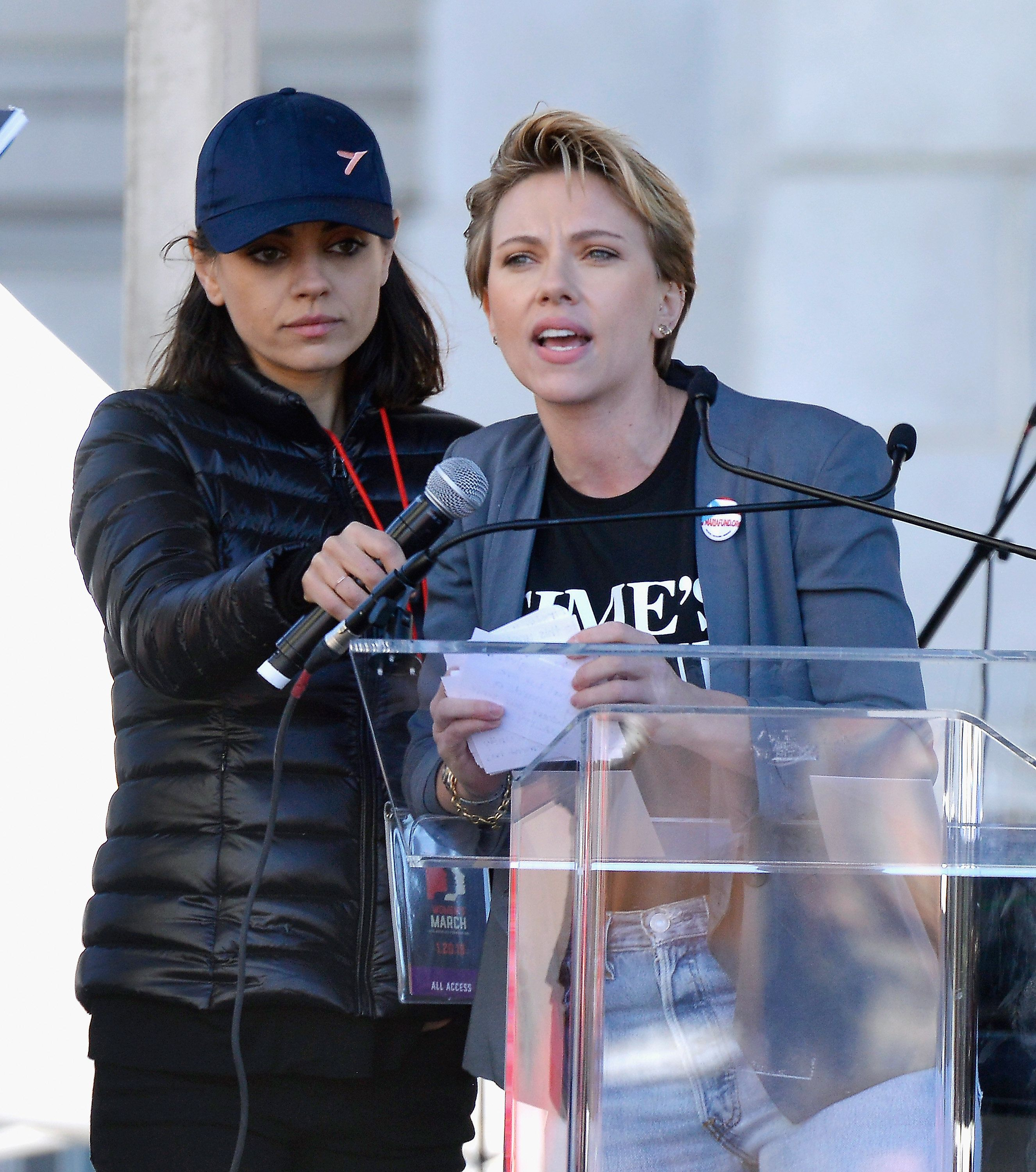 LOS ANGELES, CA - JANUARY 20:  Mila Kunis supports Scarlett Johansson as she speaks during the Women's March Los Angeles 2018 on January 20, 2018 in Los Angeles, California.  (Photo by Chelsea Guglielmino/Getty Images)