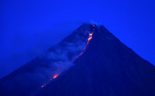 Lava flowing from the crate of Mayon on