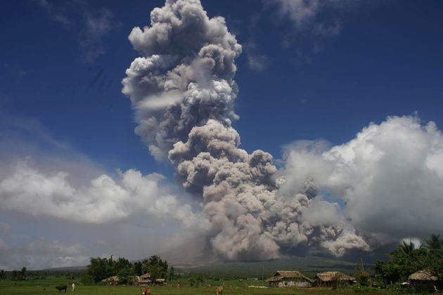 A giant cloud of smoke emanates from Mayon, the country's most active