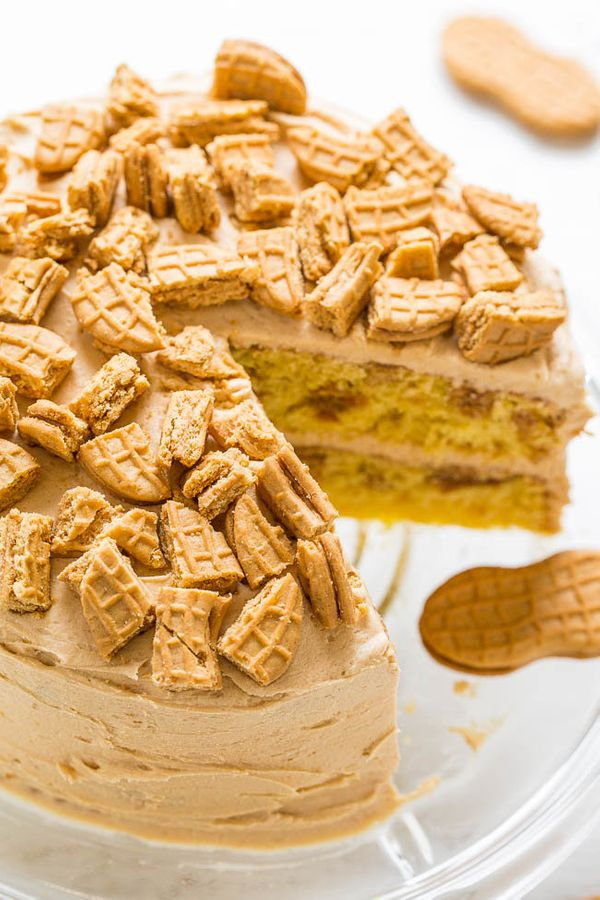 "<strong>Get the <a href=""https://www.averiecooks.com/2017/07/nutter-butter-peanut-butter-layer-cake.html"" target=""_blank"">Nut"