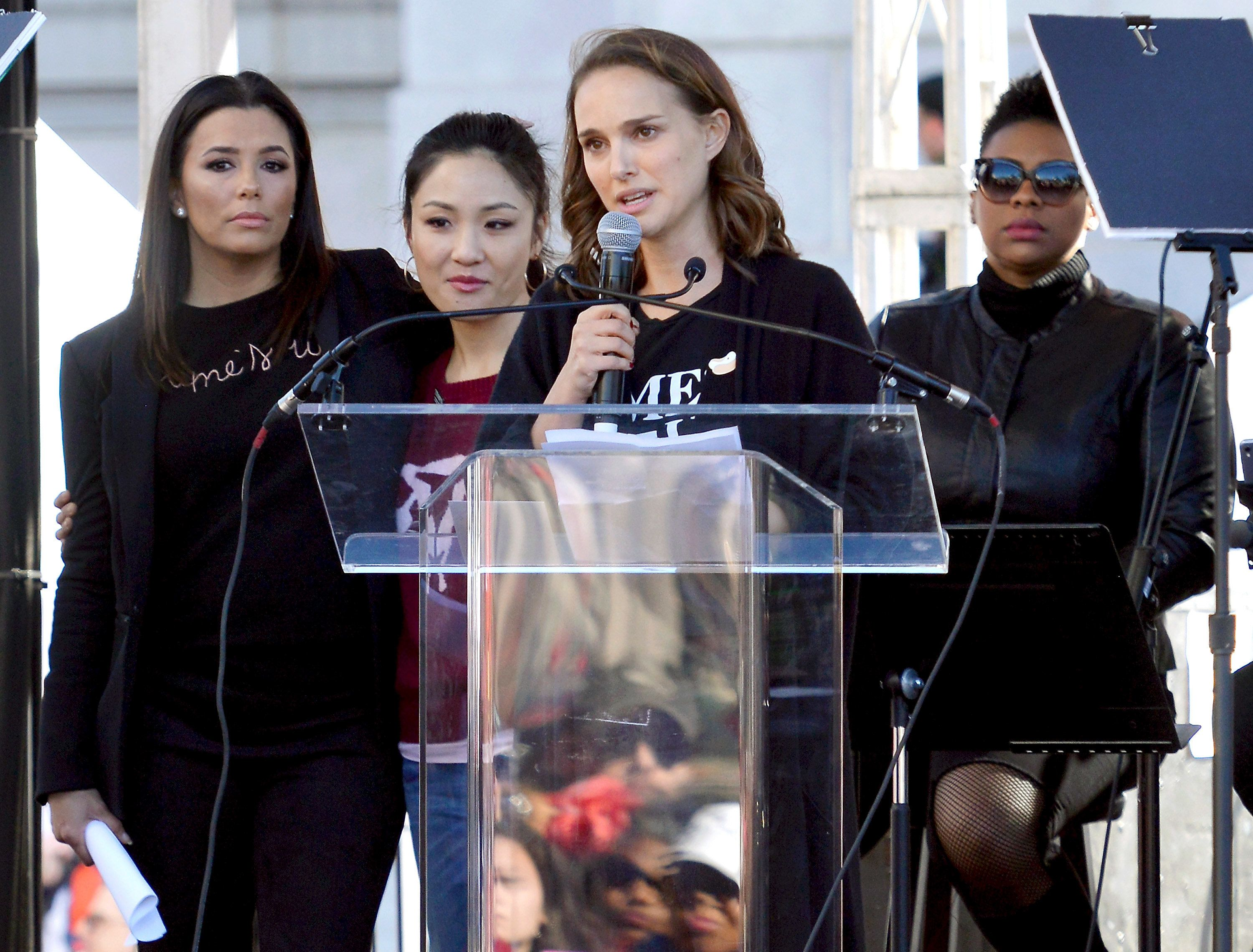 LOS ANGELES, CA - JANUARY 20:  (L-R) Actors Eva Longoria, Constance Wu and Natalie Portman speak during the Women's March Los Angeles 2018 on January 20, 2018 in Los Angeles, California.  (Photo by Chelsea Guglielmino/Getty Images)