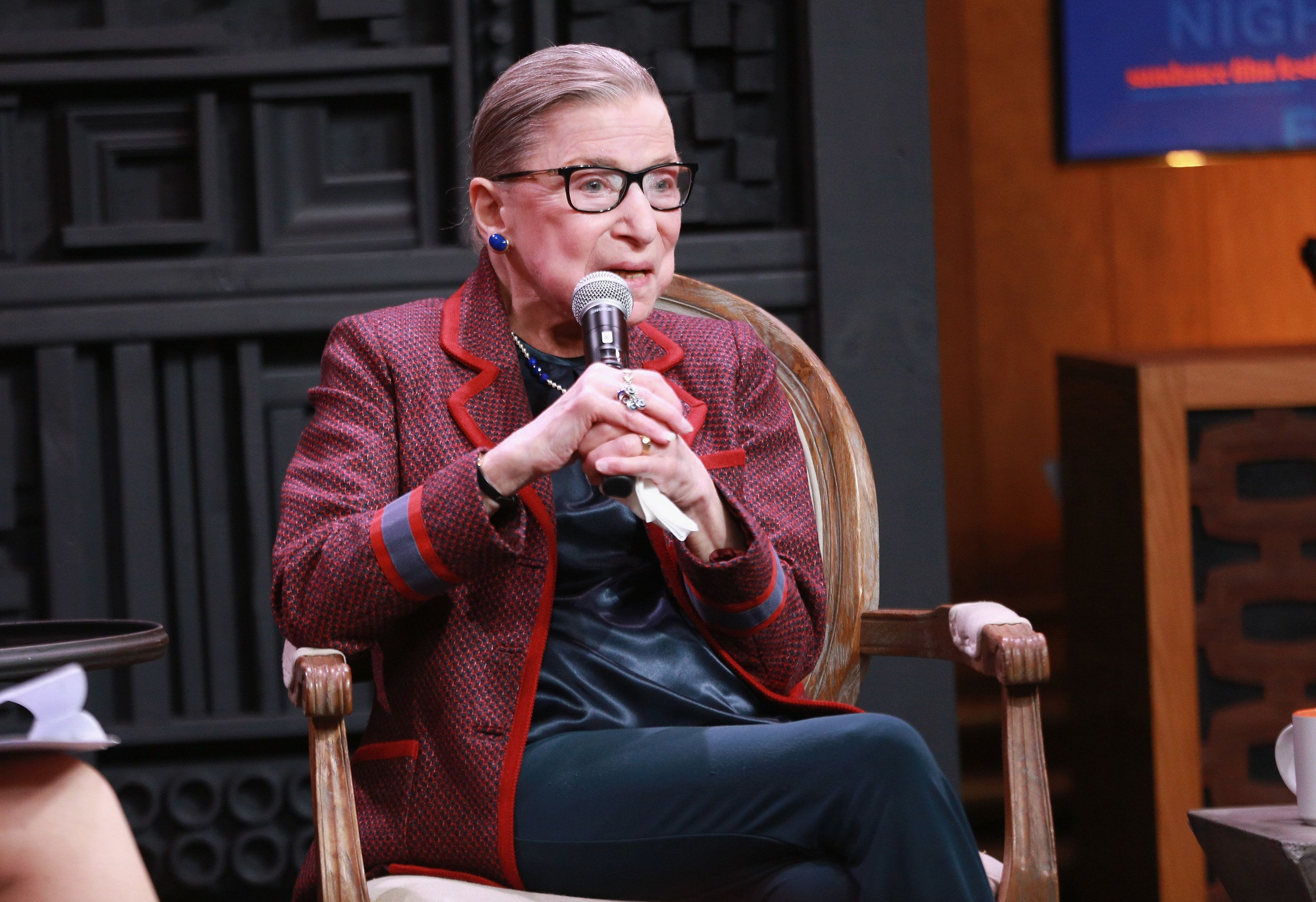PARK CITY, UT - JANUARY 21:  Associate Justice of the Supreme Court of the United States Ruth Bader Ginsburg speaks during the Cinema Cafe with Justice Ruth Bader Ginsburg and Nina Totenberg during the 2018 Sundance Film Festival at Filmmaker Lodge on January 21, 2018 in Park City, Utah.  (Photo by Robin Marchant/Getty Images)