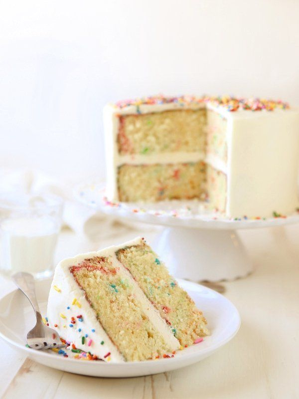 "<strong>Get the <a href=""https://www.completelydelicious.com/funfetti-cake/"" target=""_blank"">Funfetti Cake</a> recipe fr"