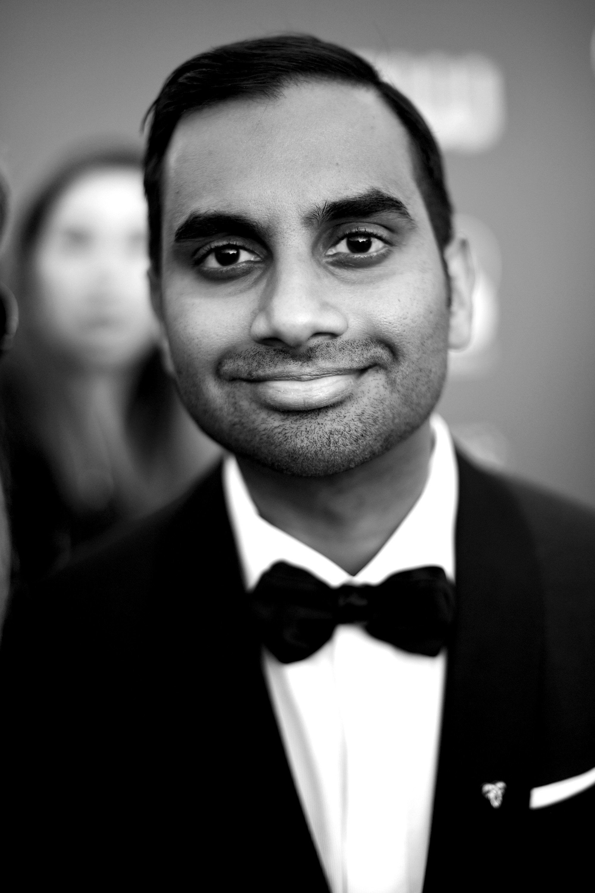 SANTA MONICA, CA - JANUARY 11:  (EDITORS NOTE: Image was converted to black and white.) Aziz Ansari attends The 23rd Annual Critics' Choice Awards at Barker Hangar on January 11, 2018 in Santa Monica, California.  (Photo by Matt Winkelmeyer/Getty Images for The Critics' Choice Awards  )