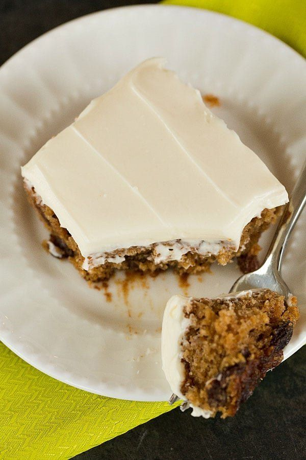 """<strong>Get the <a href=""""https://www.browneyedbaker.com/oatmeal-raisin-snack-cake-cream-cheese-frosting/"""" target=""""_blank"""">Oat"""