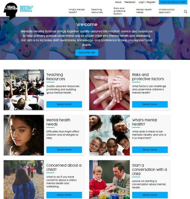 The 'Mentally Healthy Schools' homepage will be made available for staff at primary schools across the