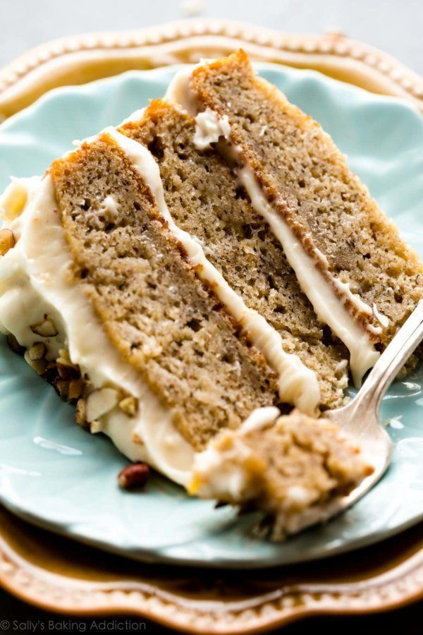 "<strong>Get the <a href=""https://sallysbakingaddiction.com/2017/08/21/banana-cake-with-brown-butter-cream-cheese-frosting/"" t"