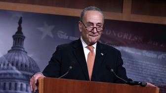 WASHINGTON, DC - JANUARY 20:  U.S. Senate Minority Leader Sen. Chuck Schumer (D-NY) speaks during a news conference January 20, 2018 on Capitol Hill in Washington, DC. The U.S. government is shut down after the Senate failed to pass a resolution to temporarily fund the government through February 16.  (Photo by Alex Wong/Getty Images)