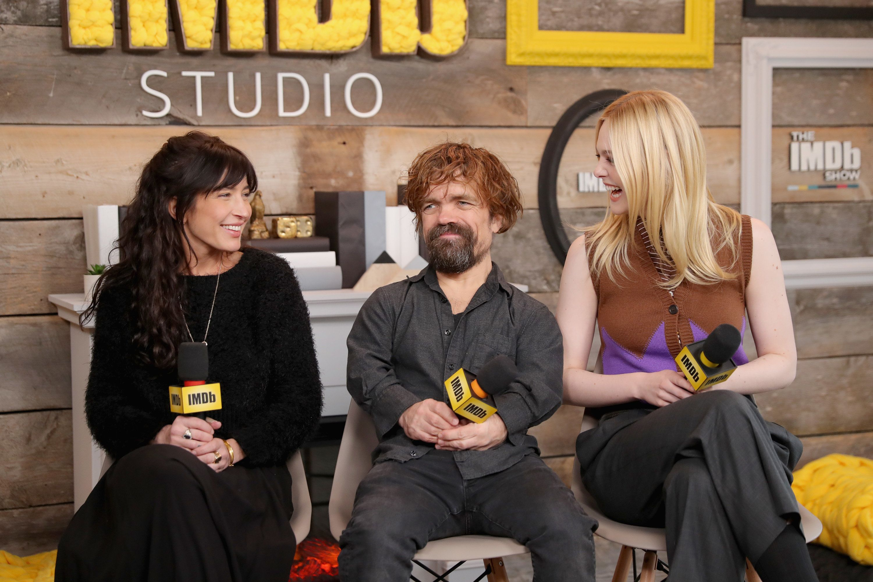 PARK CITY, UT - JANUARY 21:  Director Reed Morano, actors Peter Dinklage and Elle Fanning of  'I Think We're Alone Now' attend The IMDb Studio and The IMDb Show on Location at The Sundance Film Festival on January 21, 2018 in Park City, Utah.  (Photo by Rich Polk/Getty Images for IMDb)