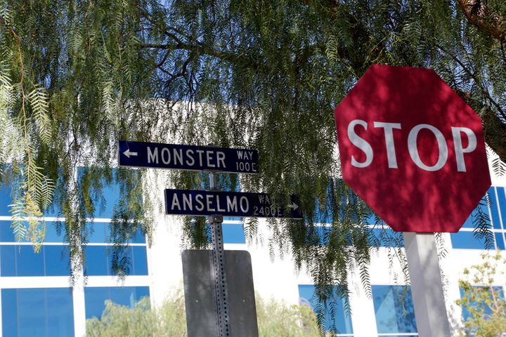 PICTURED AT TOP: Sara Rabuse. PICTURED HERE: Monster's headquarters are in a nondescript office park at 1 Monster Way in Corona, California.