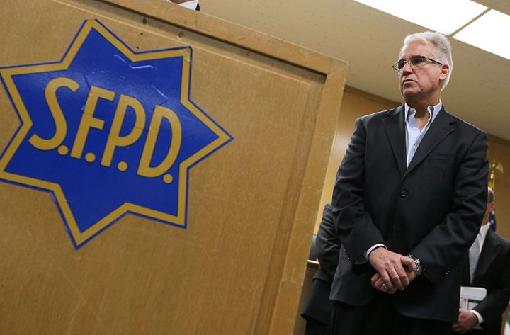 Then-San Francisco Police Chief George Gascón poses at a news conference in 2010. Gascón, now th