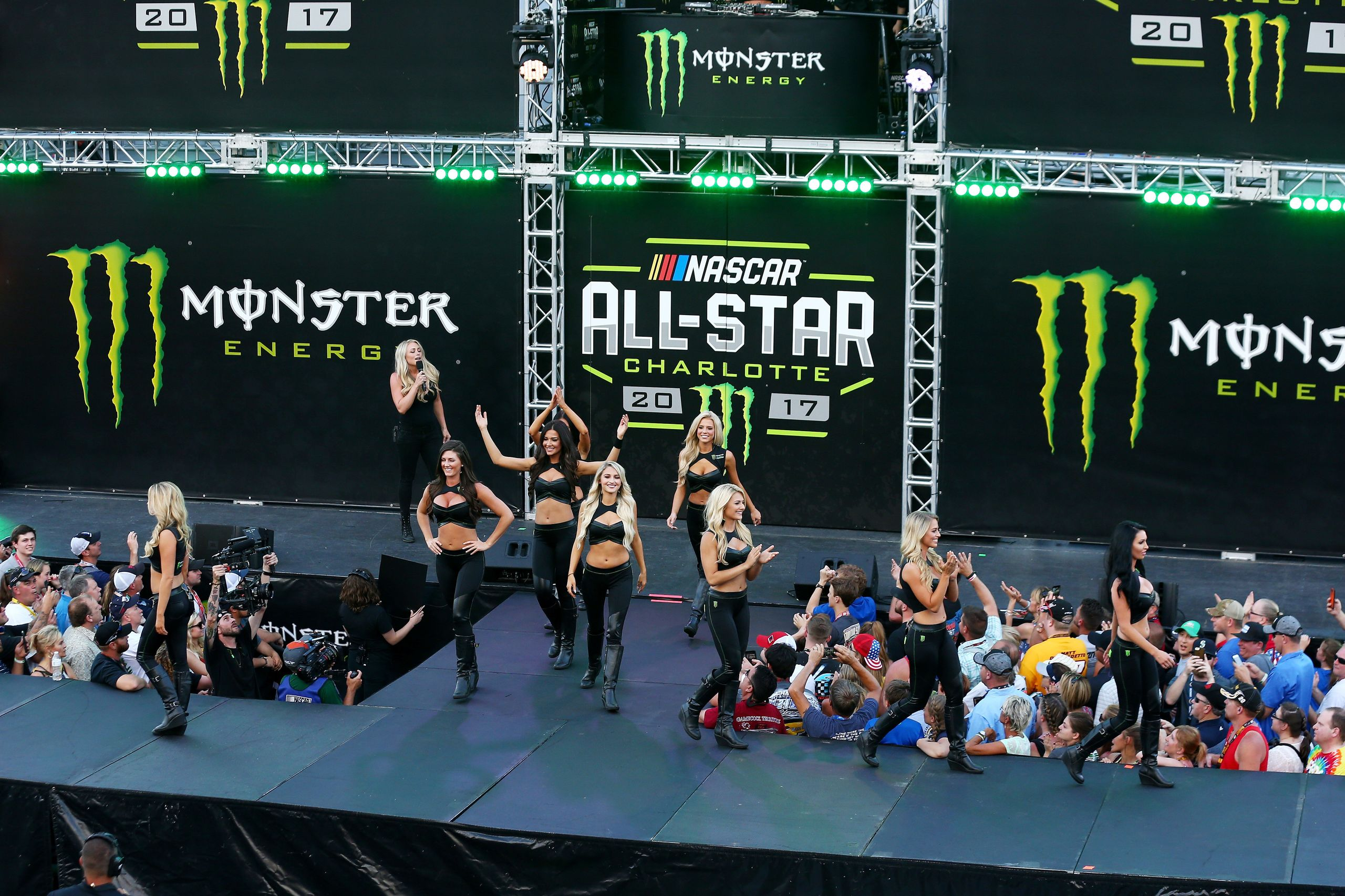 Monster Girls entertain the crowd at the Monster Energy NASCAR All Star Race in Charlotte, North Carolina, on May 20, 2017.&n