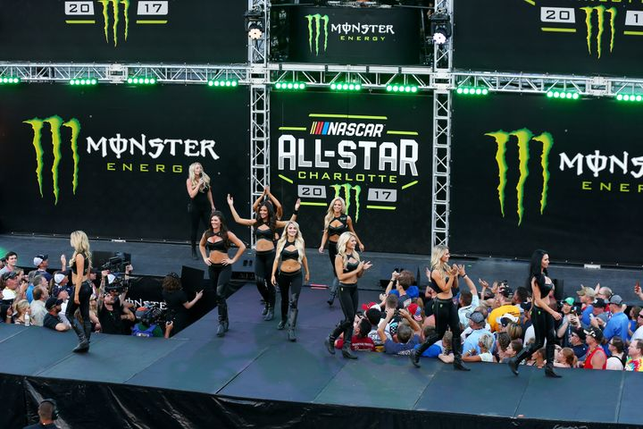 Monster Girls entertain the crowd at the Monster Energy NASCAR All Star Race in Charlotte, North Carolina, on May 20, 2017.