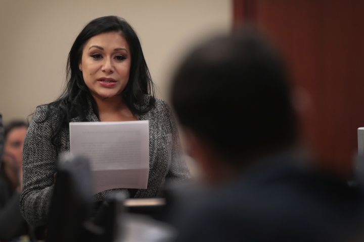 Survivor Jeanette Antolin reads her victim impact statement to Larry Nassar in court on Jan. 17, 2018.