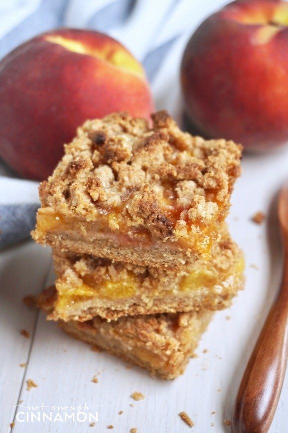 "<strong>Get the<a href=""https://notenoughcinnamon.com/2017/07/17/healthier-peach-crisp-bars-gluten-free-refined-sugar-free/"""