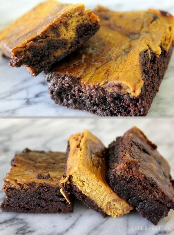 """<strong>Get the <a href=""""http://www.agirldefloured.com/2012/11/30/gluten-free-pumpkin-swirl-fudge-brownies/"""" target=""""_blank"""">"""