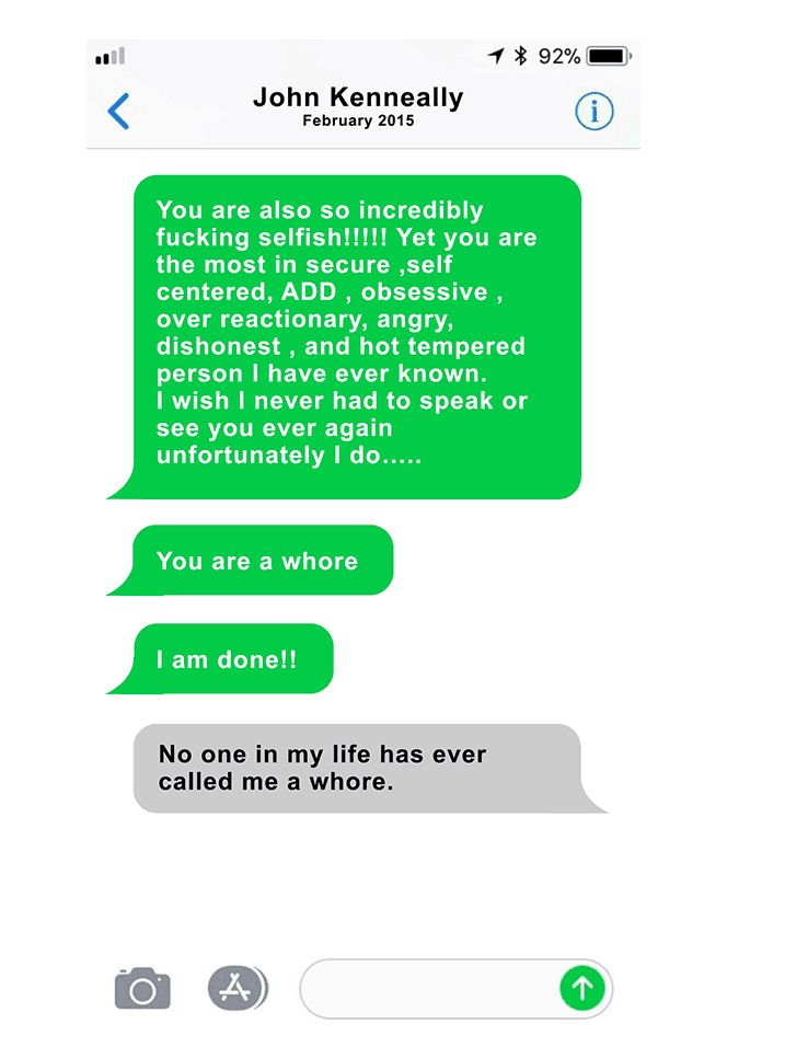 A text exchange between Page Zeringue and her boss, John Kenneally. He sent her a string of messages like this throughout their relationship.