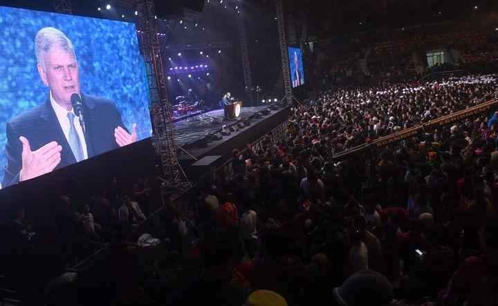 Graham speaks at a Christian evangelical gathering in Hanoi, Vietnam, on Dec. 9, 2017.