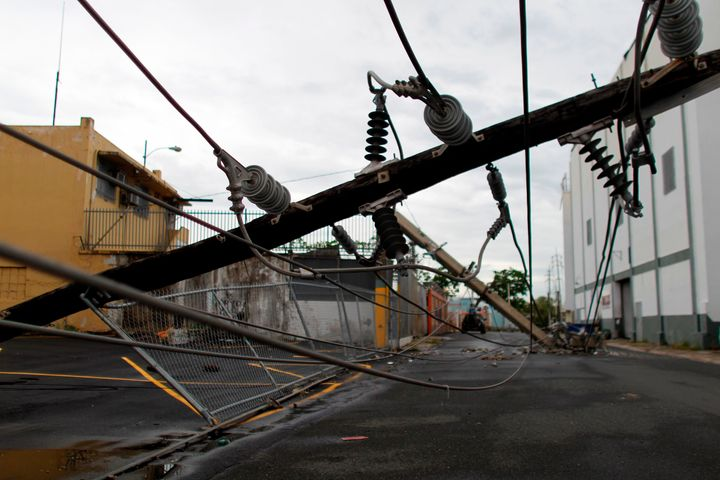 A power line in San Juan months after it was downed by Hurricane Maria.