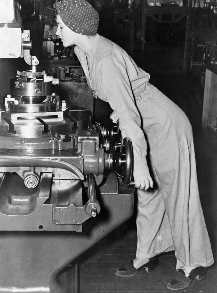 "The photograph of Naomi Parker Fraley that likely inspired the ""Rosie the Riveter"" poster."