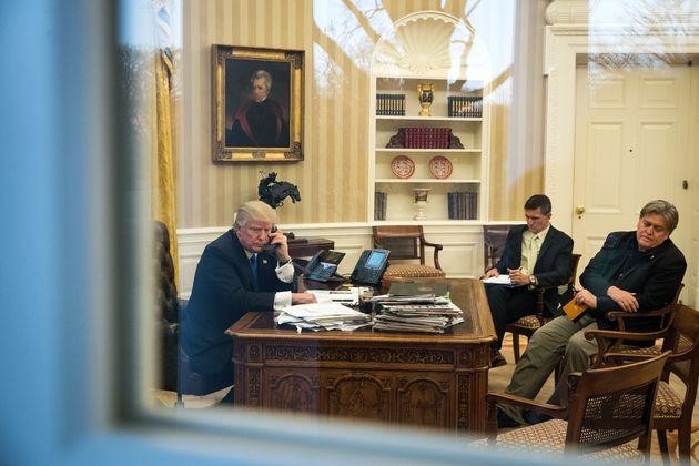 U.S. President Donald Trump speaks by phone with Australian Prime Minister Malcolm Turnbull on Jan. 28,