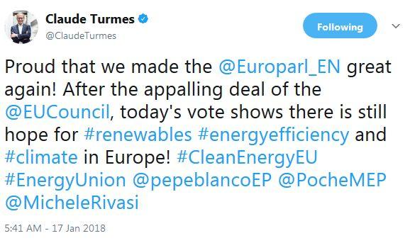 «Είμαι περήφανος που κάναμε την ευρωβουλή ξανά σπουδαία!» έγραψε στο twitter ο Claude Turmes λίγο μετά...