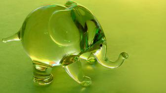 A little glass elephant being sunlit through