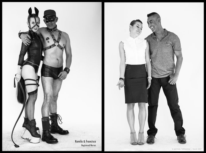 """L: Kamila and Francisco at Folsom. R: Kamila and Francisco in their """"everyday"""" clothing."""