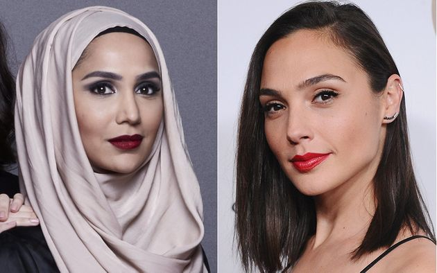 Gal Gadot, right, is hailed as a feminist icon, but Amena Khan, left, was criticized for sharing her...